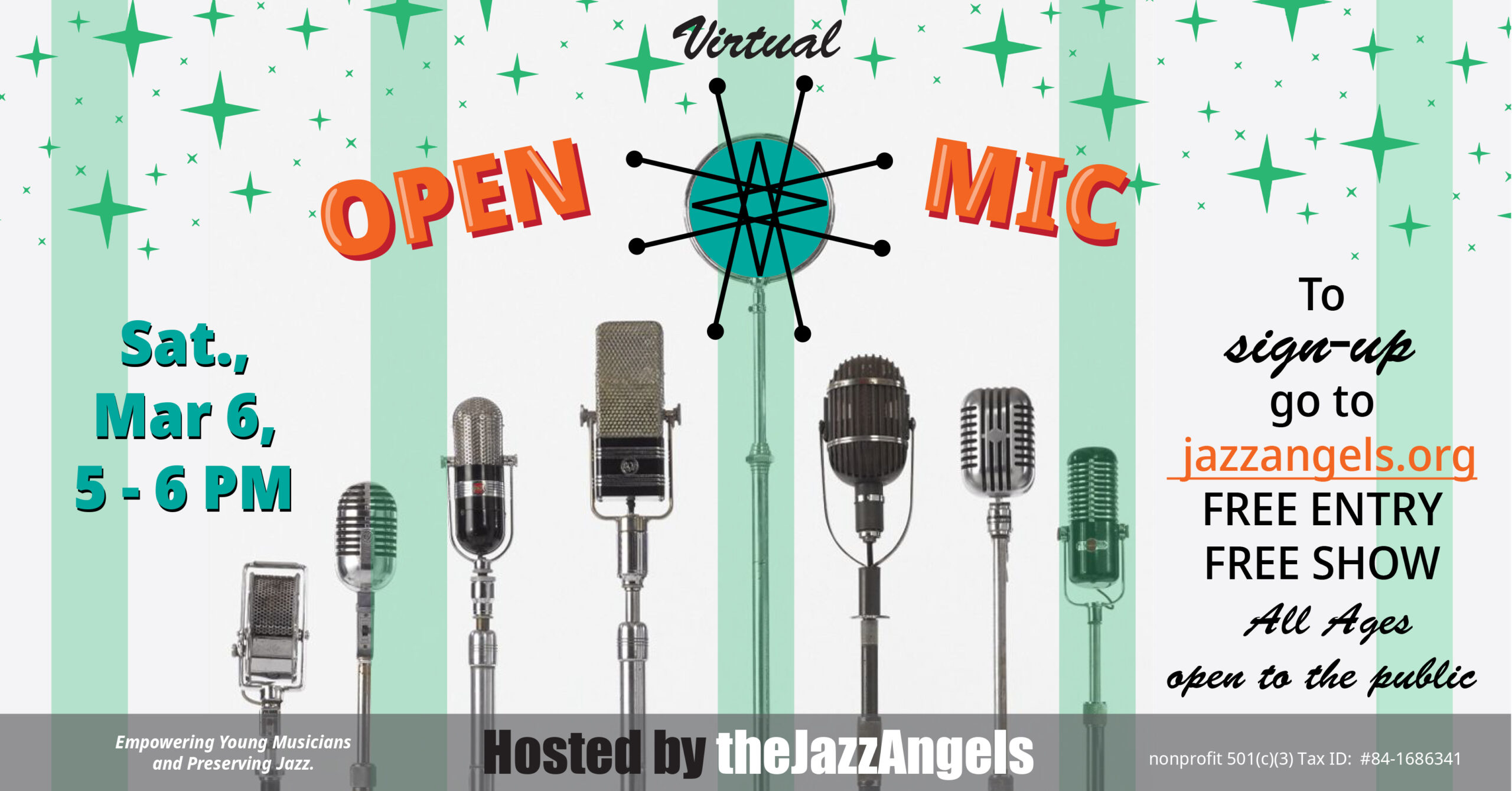 Virtual Open Mic May 6th from 5-6pm.